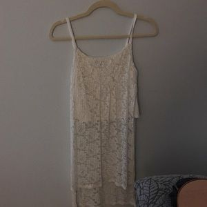 White lace long tank top